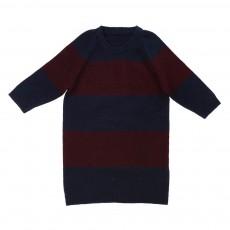 Robe Pull Rayée Bicolore Prune