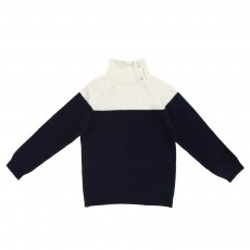 Pull Col Montant Bicolore Bleu nuit