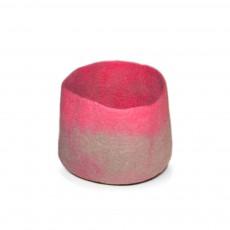 Calebasse feutre bicolore - Taupe et rose - S