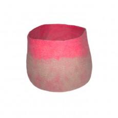 Calebasse feutre bicolore - Taupe et rose - M