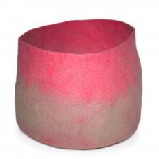 Calebasse feutre bicolore - Taupe et rose - XL