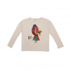T-shirt Oiseau Multicolore Ecru