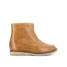Boots Cuir Zippées Trip Camel