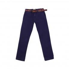 Pantalon Chino Avec Ceinture Bleu roi