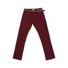 Pantalon Chino Avec Ceinture Bordeaux