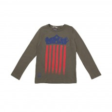T-shirt  Drapeau USA Vert kaki