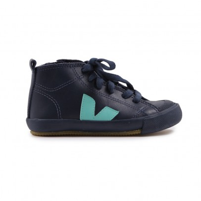 Sneaker Cerniera/Lacci Pelle Botinha Blu