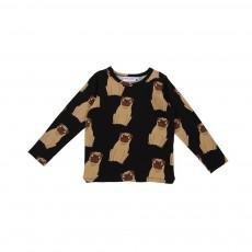 T-shirt Chiens Pug Noir