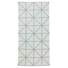 Tapis imprimé géométrique - Gris clair/Vert d'eau