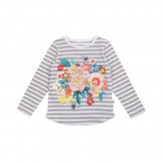 T-shirt Rayures Fleurs Barley Multicolore
