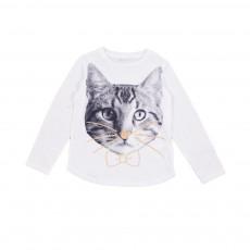 T-shirt Tête Chat Barley Blanc