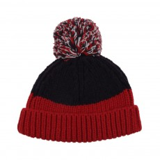 Bonnet Bicolore Pompon Tweedle Rouge