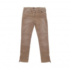 Pantalon Velours Skinny Biker Sable