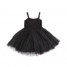 Robe Tulle Jersey Lurex Noir