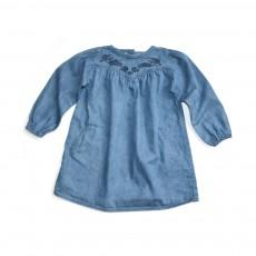 Robe Brodée Marie Lou  Bleu jean