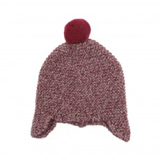 Bonnet Chiné Pompon  Bordeaux