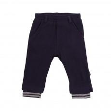 Pantalon Molleton Legging Rayé Intérieur Bleu nuit