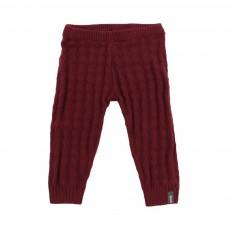 Pantalon Tricot Motifs  Bordeaux