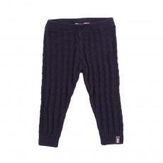 Pantalon Tricot Motifs  Bleu nuit