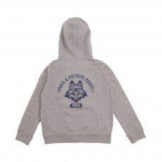Sweat Capuche Loup Dos Poppin  Gris