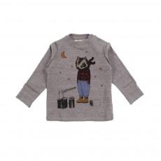 T-shirt Raton Laveur Gris chiné