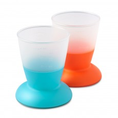Lot de 2 verres - Orange et turquoise