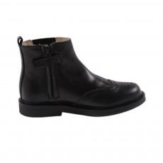 Boots Cuir Bout Fleuri Marlow Noir