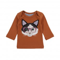 T-shirt Smart Cat Marron
