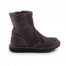 Boots zippées bout Fleuri Fabula Gris