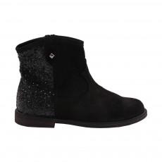 Boots Zip Velours-Paillettes Pauline Noir