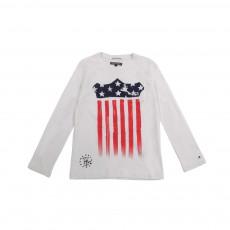 T-shirt  Drapeau USA Blanc cassé
