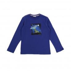 T-shirt phosphorescent Galaxy Bleu