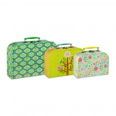 Set de 3 valisettes carton médaillons, arbres, fleurs Mini Labo