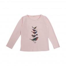 T-Shirt Fronces Oiseaux Rose pâle