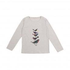 T-Shirt Fronces Oiseaux Ecru