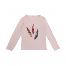 T-Shirt Plumes Rose pâle