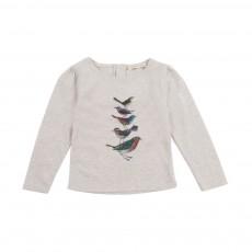 T-Shirt Fronces Oiseaux Bébé Ecru