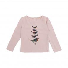 T-Shirt Fronces Oiseaux Bébé Rose pâle