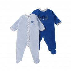 Lot de deux Pyjamas Leopold Base Velours Bleu