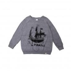 T-Shirt Pirates Ship ML Gris chiné