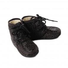 Boots Fourrure Panthère Lacets Gris foncé
