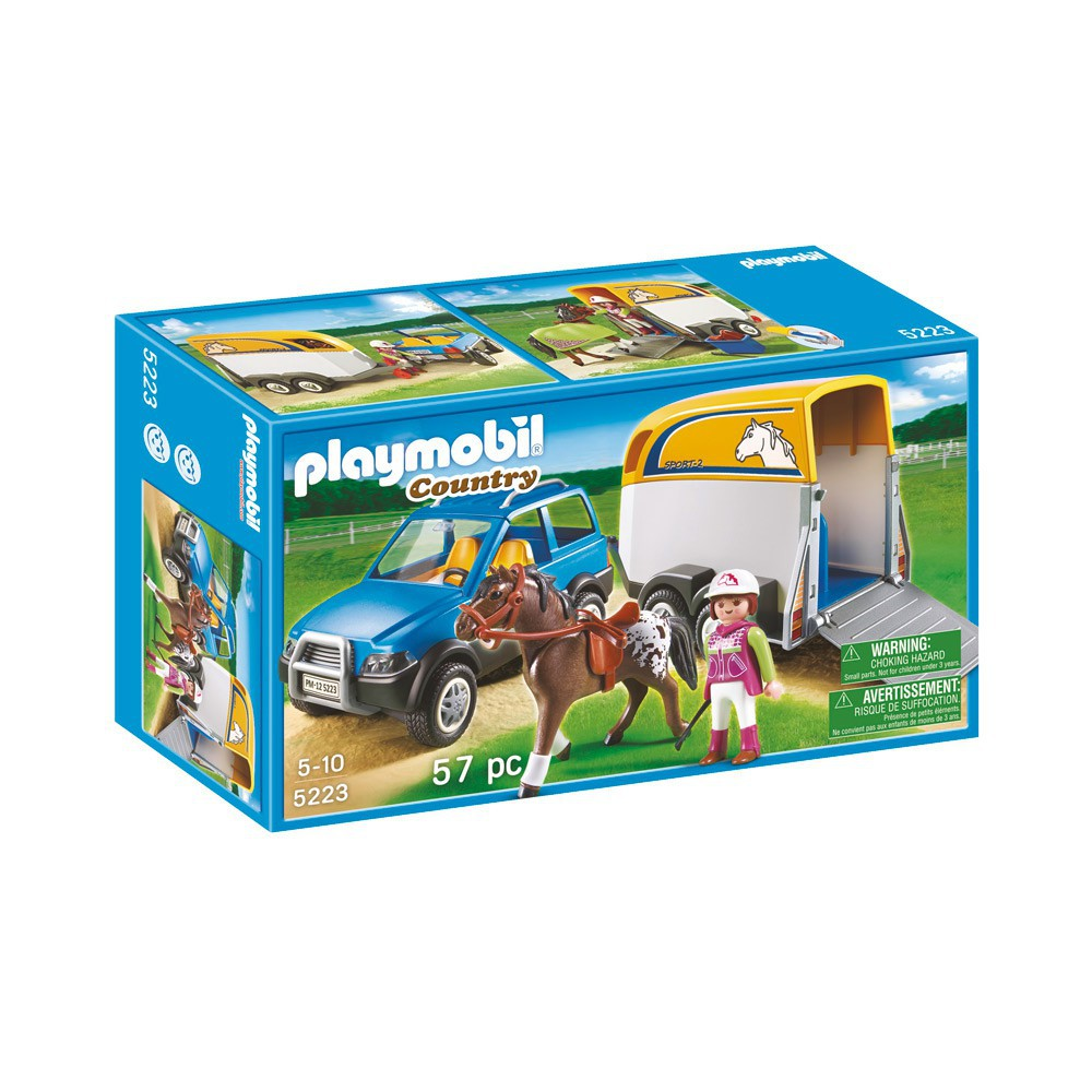 voiture avec remorque et cheval r playmobil jeux. Black Bedroom Furniture Sets. Home Design Ideas