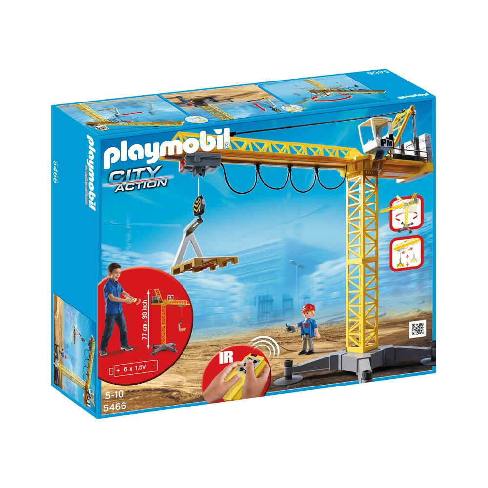 Grande grue de chantier radio command e r playmobil jeux jouets l - Jeux de grue de chantier ...