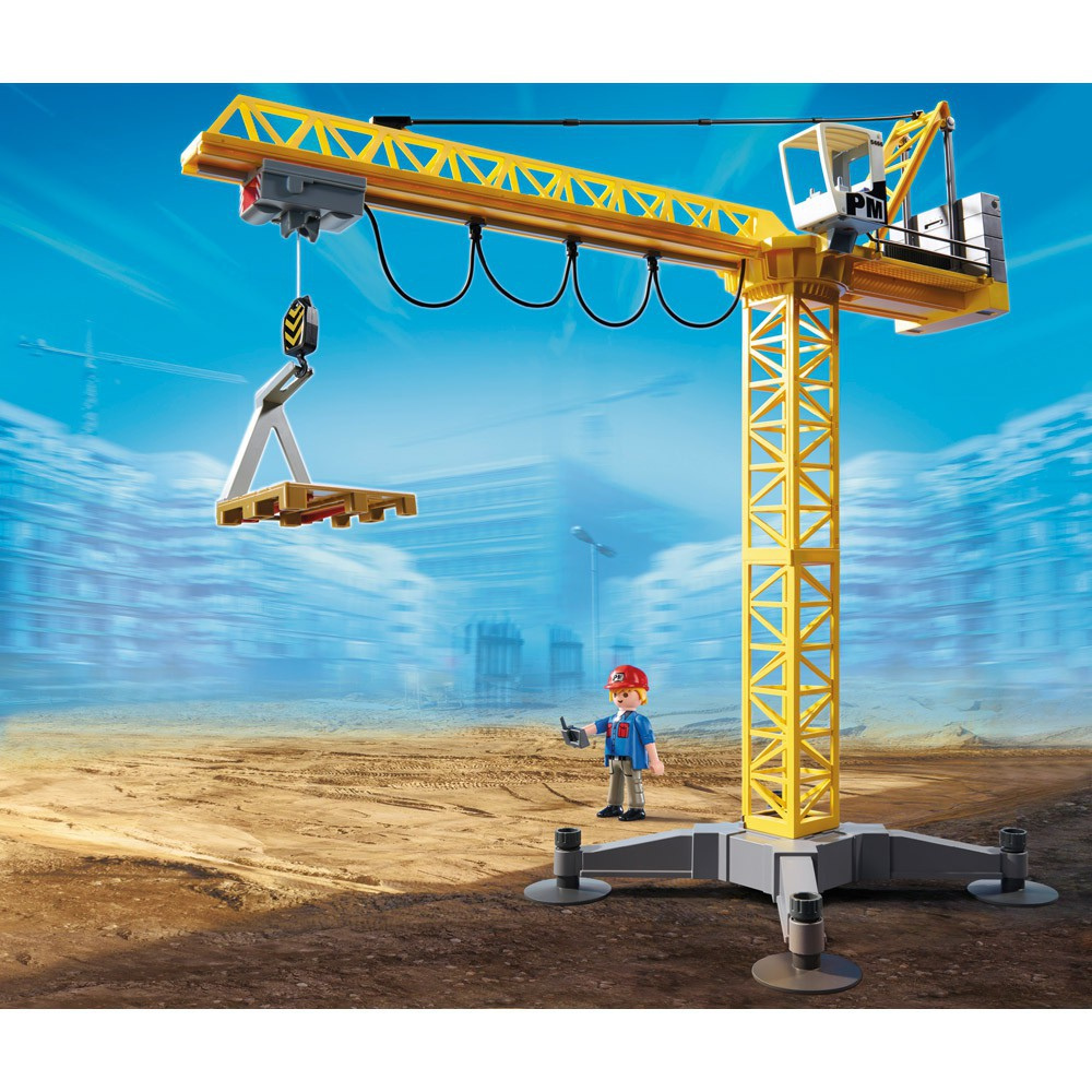 grande grue de chantier radio command e r playmobil. Black Bedroom Furniture Sets. Home Design Ideas