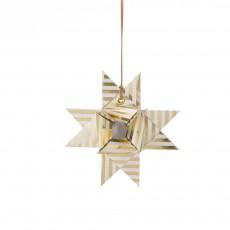 Etoile décorative papier - Rayures or