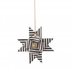 Etoile décorative papier - Rayures noires