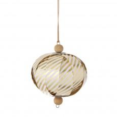 Boule décorative papier - Rayures or