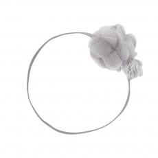 Headband Fleurs Double Pom Pom Gris