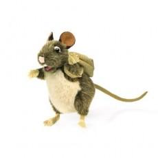 Marionnette rat et son sac à dos Brun