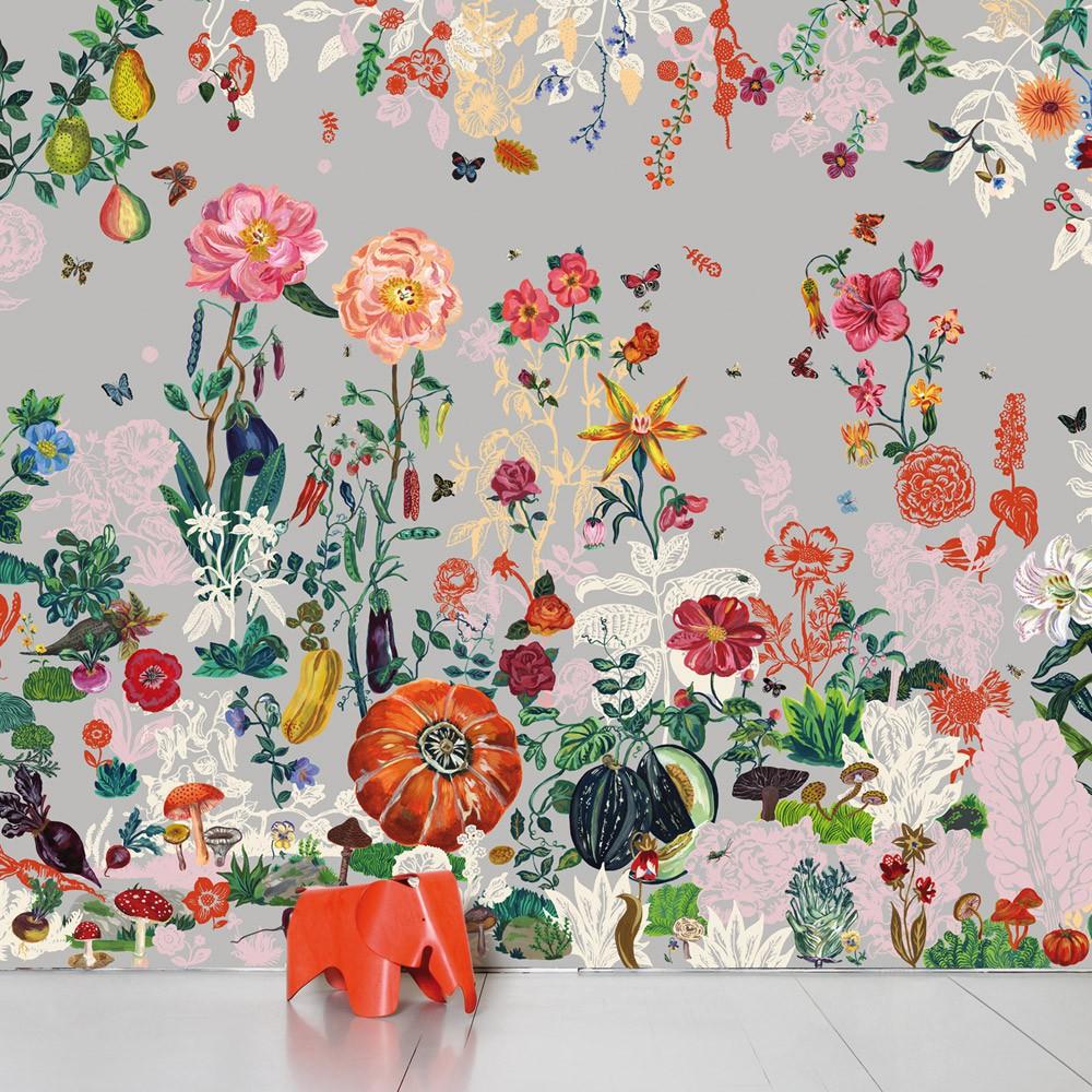 Papier peint jardin gris nathalie l t domestic for Jardin deco gris